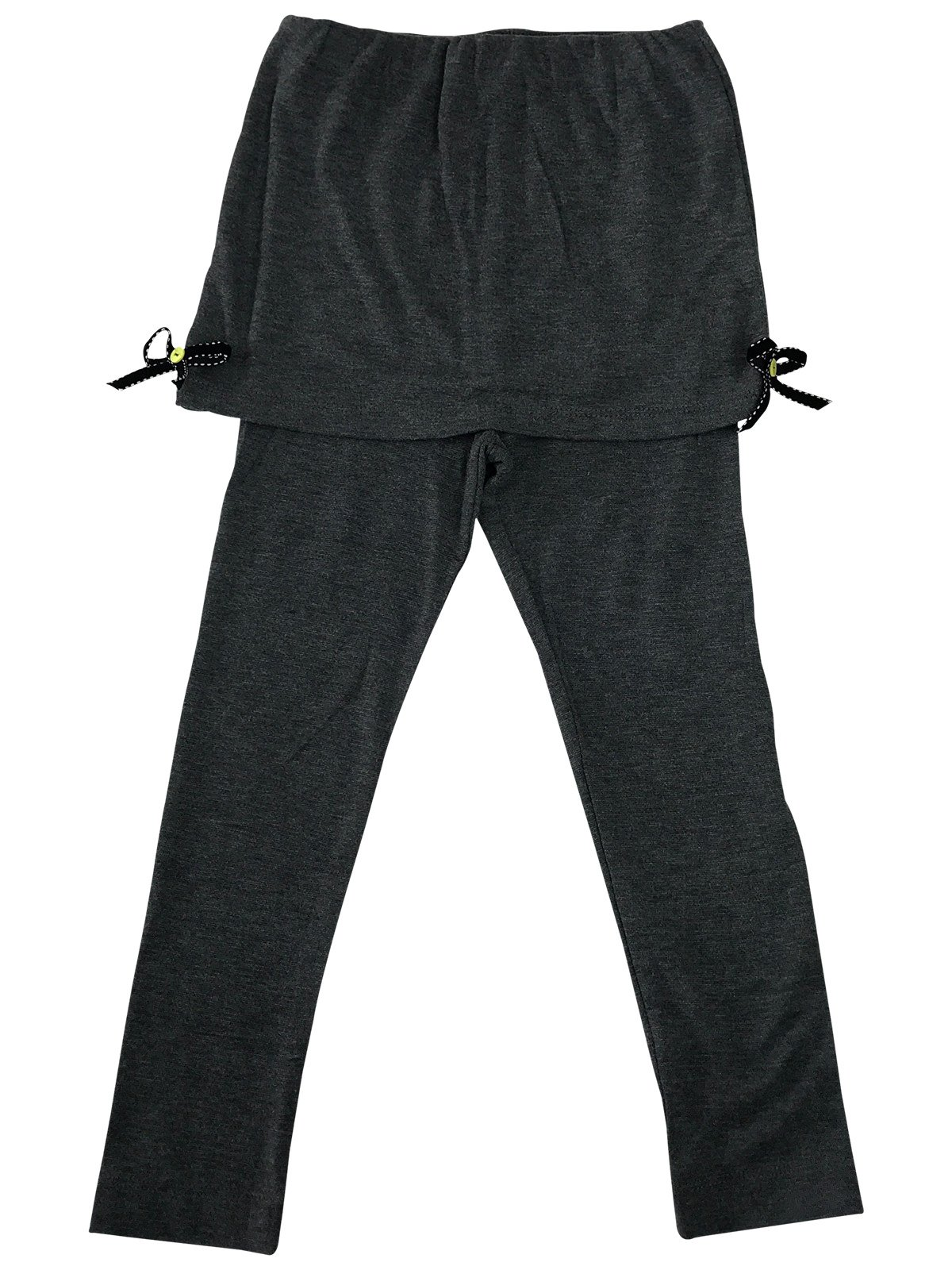 Ankle Length Legging with Shorts & Ribbons Sewed On for Little Girls Grey 7T B90002