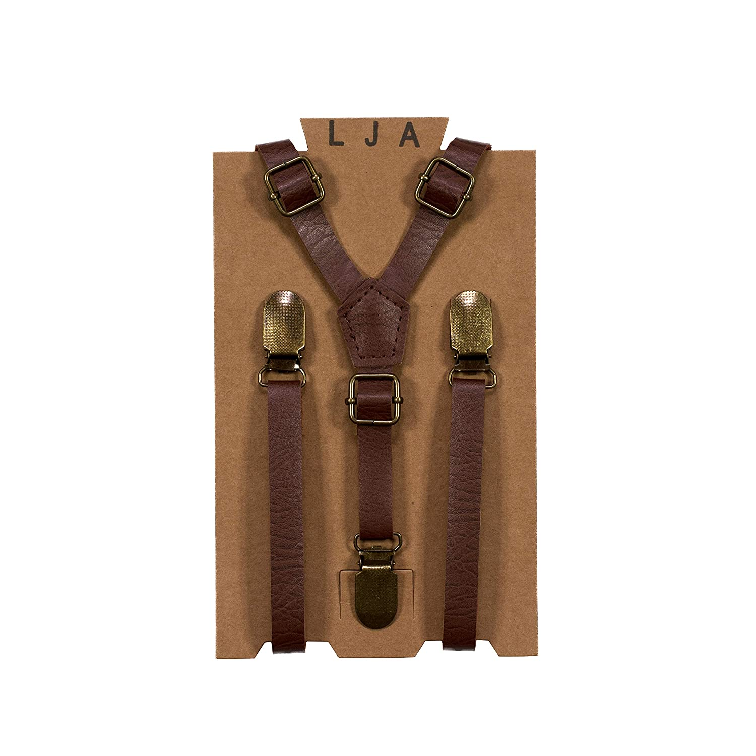 Ring Bearer wedding outfits Leather Like for Kids Ages 2 mos to 17 Years By London Jae Apparel Skinny Suspenders for Kids