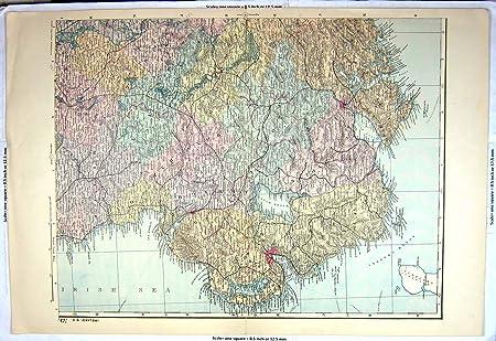 Dundalk Map Of Ireland.Old Original Antique Victorian Print Bacon Map 1900 Northern Ireland