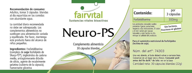 Neuro-PS - durante 10 días - ALTA DOSIS - 30 cápsulas blandas - fosfatidilserina de lecitina de soja: Amazon.es: Salud y cuidado personal