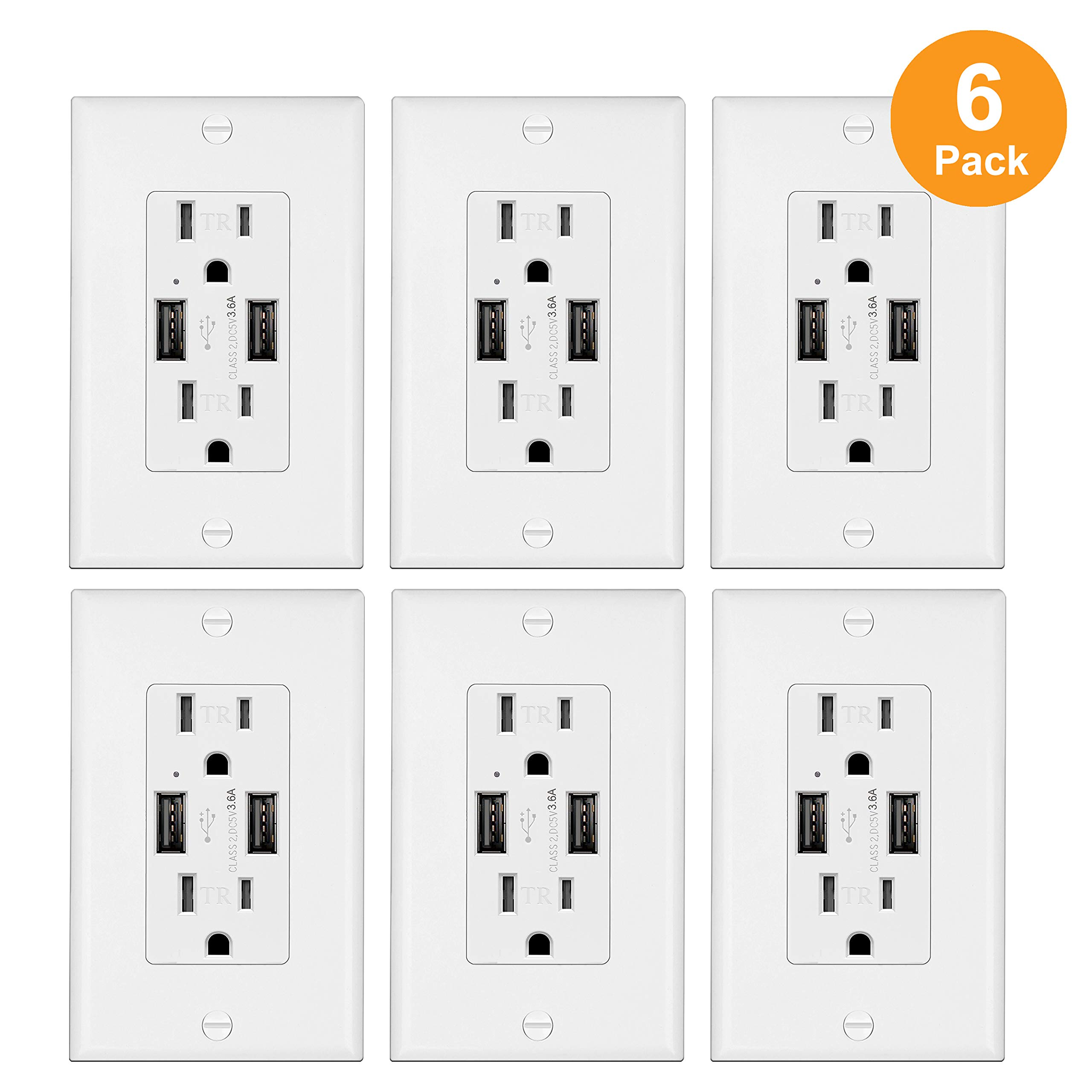 6 Pack - ELECTECK Dual 3.6A High Speed USB Quick Charging Ports, USB Wall Outlet Receptacles, 15A/125V/1875W, Decor Wall Plates and Mounting Screws Included, UL Listed, White by ELECTECK