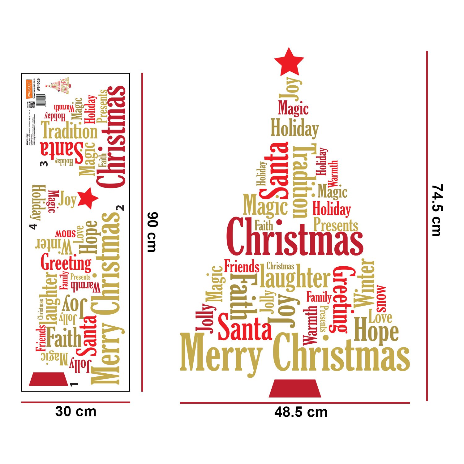Wallflexi Christmas Decorations Wall Stickers English Quotes ...
