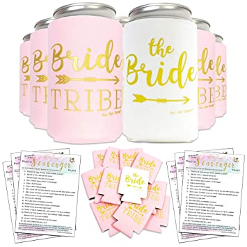 Bachelorette Party Decorations Bride to Be Favors Can Cooler Sleeves 11pcs + Bonus Fun Photo Game