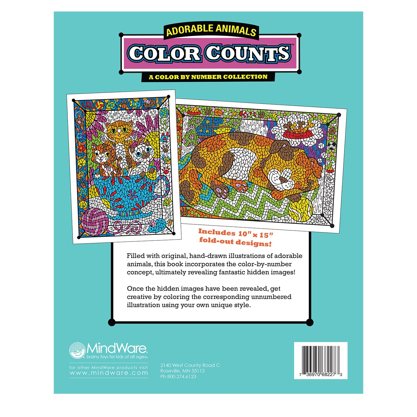 Amazon.com: MindWare Coloring Book Set of 2: Favorite Creatures with ...