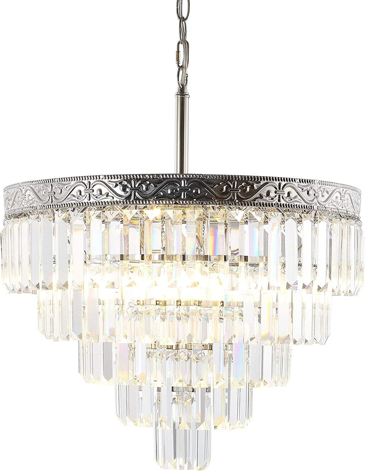 """JONATHAN Y JYL9007A Wyatt 20"""" 4-Light Crystal LED Chandelier Contemporary,Classic,Traditional Dimmable, Adjustable, for Dining Room, Foyer, Bedroom, PolishedNickel/Clear"""