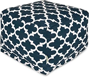 Majestic Home Goods Trellis Ottoman, Large, Navy