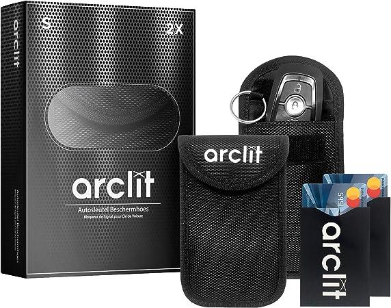 Etui anti rfid cle voiture etui anti rfid Lot de 2 Pochettes /Étui de Protection anti RFID pour Clef T/él/écommande avec Anneau Porte-cl/é Int/égr/é en Fibre de Carbone