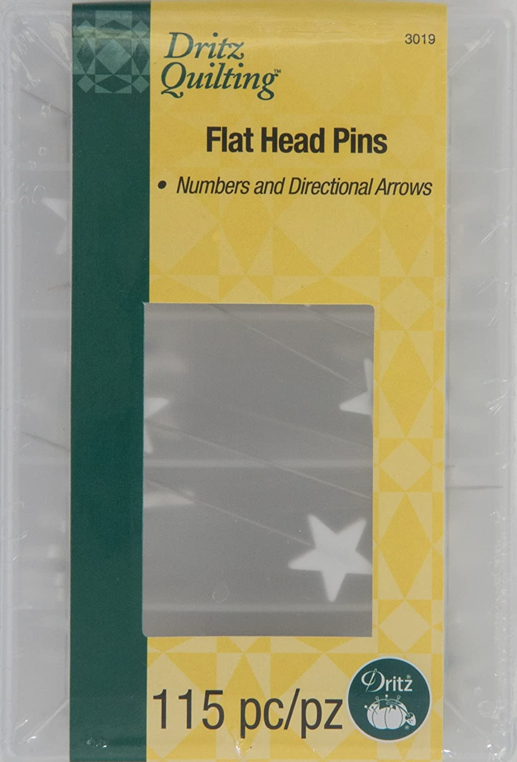 Dritz Quilting Flathead Numbered & Directional Pins, 115 Ct Prym Consumer 3019