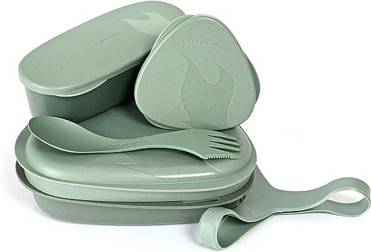 Light My Fire Vajilla Camping - Kit Picnic 6 Cubiertos Camping - Vajilla Plastico Reutilizable 100% sin BPA - Microondas y Lavavajillas - Cubiertos ...