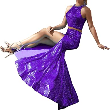 Shining Sequins Backless 2 Piece Prom Dresses Long Mermaid Dress Purple US0 Size