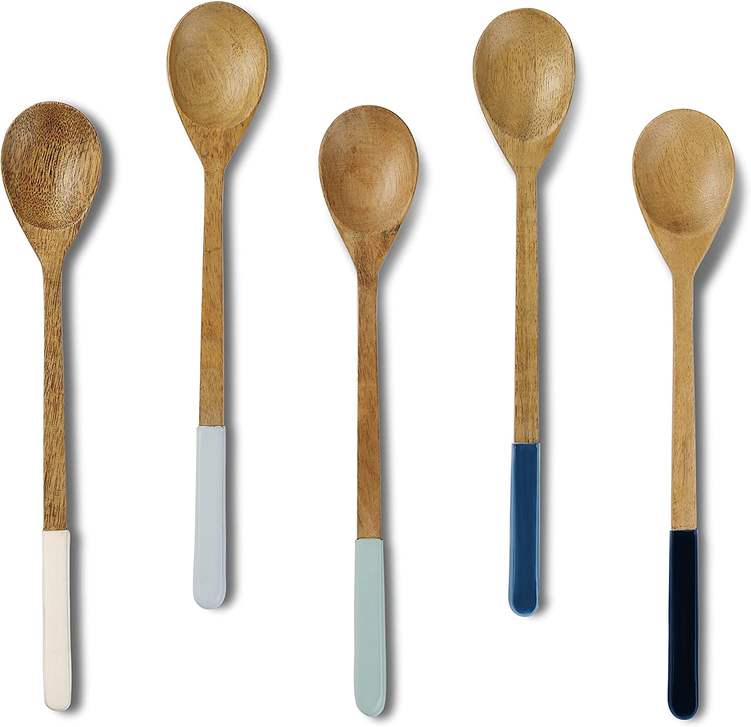 Folkulture Wooden Spoons for Cooking or Eating Soup or Rice, Mango Wood Mini Spoons for Korean or Japanese Meals, Small Wooden Spoons or Utensils for Mixing or Stirring, Set of 5, 9 inch, Blue Ombre