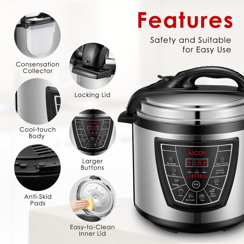 cuill/ère /à riz tasse /à mesurer et bo/îtier en acier inoxydable 6l // 1000 W 220 V avec bol de cuisson AICOK autocuiseur electrique multicuiseur 7 fonctions