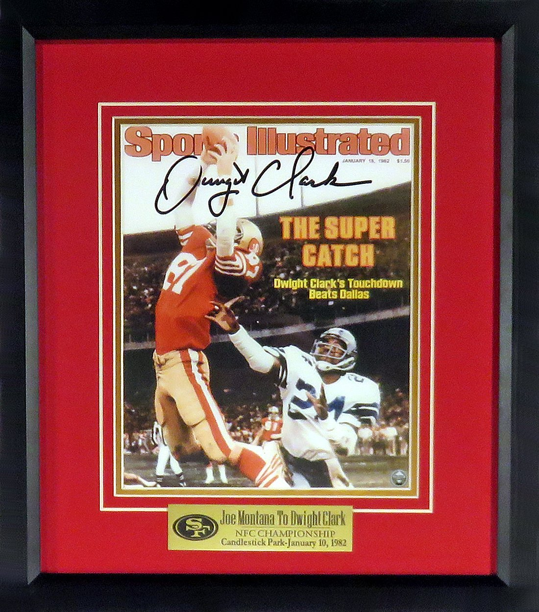 "SF 49ers Dwight Clark Autographed""The Catch"" SI 8x10 Digital Image (w/""Joe  Montana To Dwight Clark"" Plate) Framed at Amazon's Sports Collectibles Store"