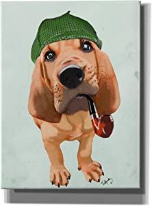 "Epic Graffiti 'Bloodhound Sherlock Holmes' by Fab Funky, Giclee Canvas Wall Art, 12""x16"""