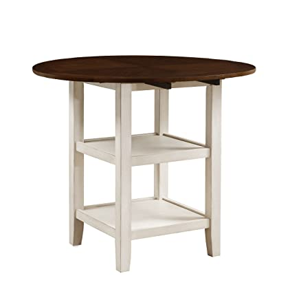 Amazoncom Homelegance Kiwi Counter Height Drop Leaf Table White