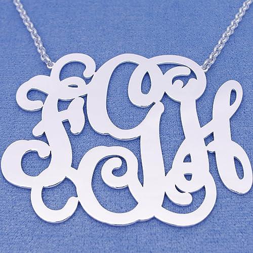 Amazon extra large 3 initials monogram necklace silver 25 inch extra large 3 initials monogram necklace silver 25 inch monogrammed pendant jewelry sm36c aloadofball Choice Image