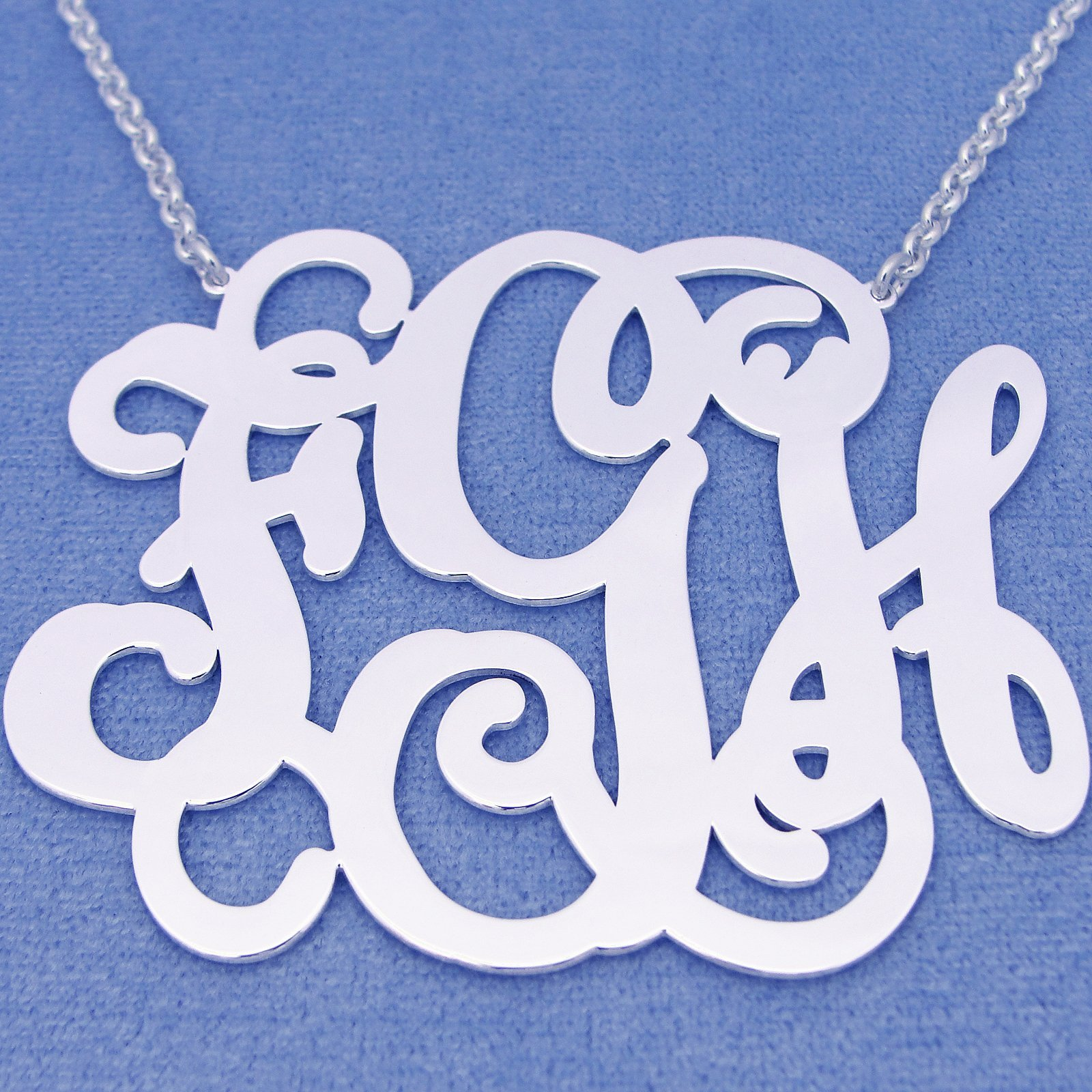 Extra Large 3 Initials Monogram Necklace Silver 2.5 Inch Monogrammed Pendant Jewelry SM36C