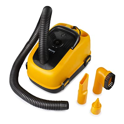 Wagan EL7205 12V Wet/Dry Auto Vacuum Cleaner for Vehicles with 40-inch Flexible Hose and 3 Nozzles, Inflate Function for Pool Toys, Air Mattress, Yellow, Black: Automotive [5Bkhe0415242]