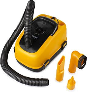 Wagan Yellow, Black EL7205 12V Wet/Dry Auto Vacuum Cleaner for Vehicles with 40-inch Flexible Hose and 3 Nozzles, Inflate Function for Pool Toys, Air Mattress