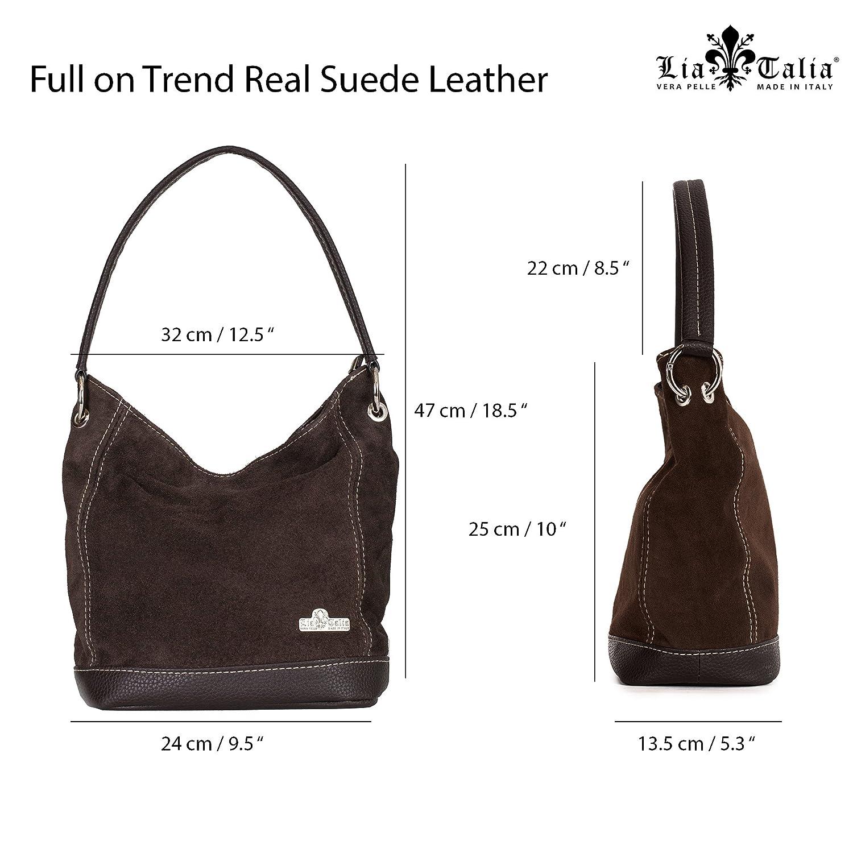 LiaTalia - Sac à bandoulière moyen en cuir suédé italien à une poignée avec sac de rangement protecteur - Denise zw5Bk