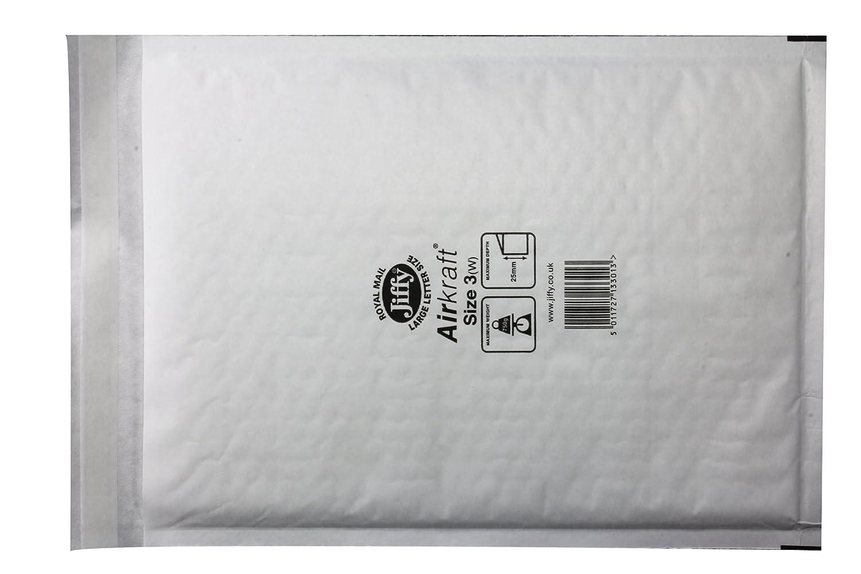 Jiffy Airkraft - Sobres (ligeros, con burbujas en el interior, para papel A3, 50 unidades, tamaño 7, 340 x 445 mm), color blanco