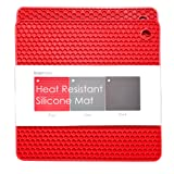 BasicForm Silicone Trivet Square Honeycomb Pattern 19x19x0.8cm (Set of 2) (Red)