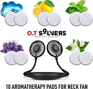Set of 10 aromatherapy pads for Hands Free Portable Hanging Neck Fan – fits all types of neck fans, Ocean, lemon, mint, lavender, gardenia, smells – upgrade your cooling experience