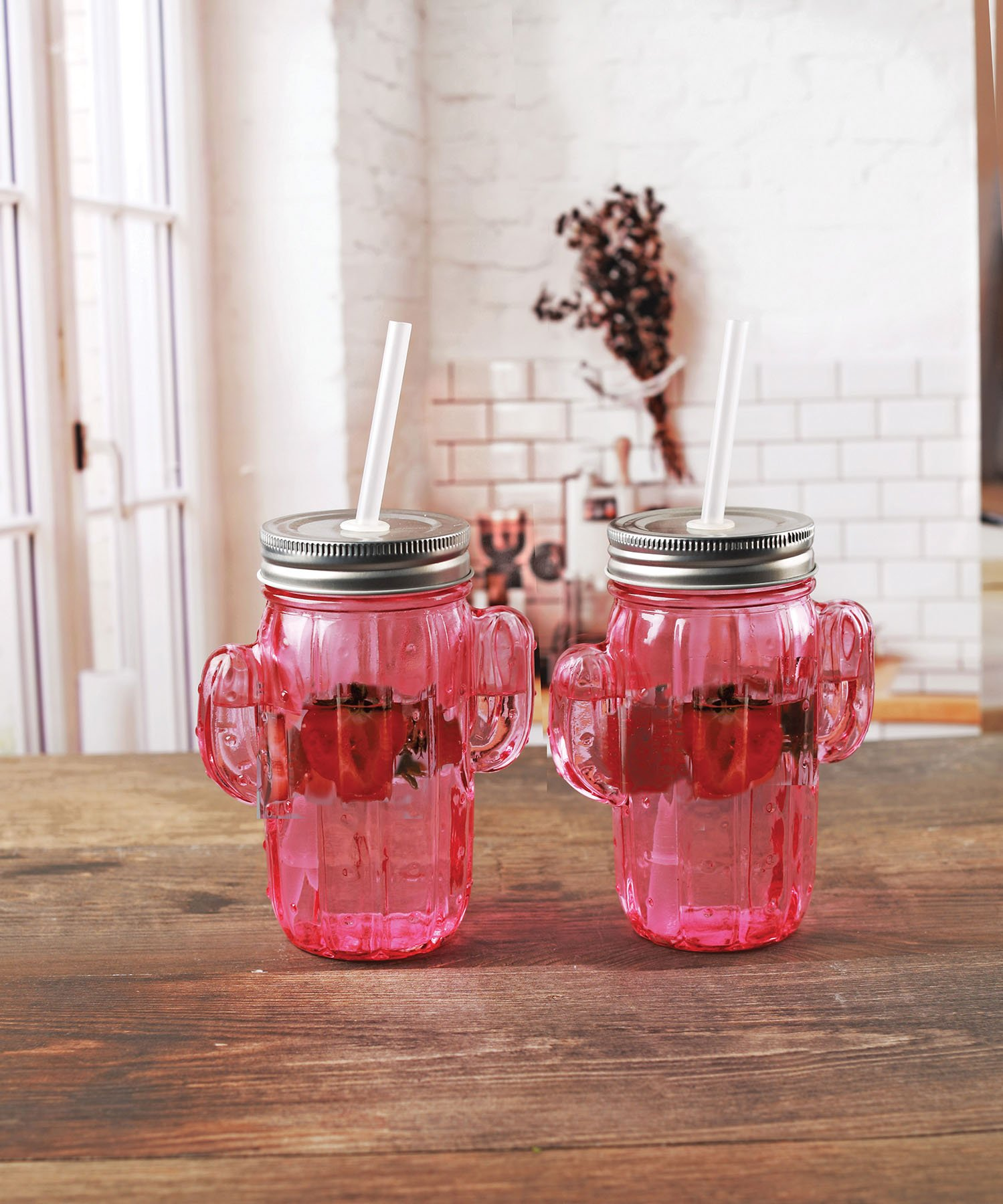 Circleware 06367 Huge Set of 12 Mason Jars Drinking Glasses with Metal Lids and Hard Straws Glassware for Water Beer and Kitchen & Home Decor Bar Dining Beverage Gifts, 15.5 oz, Pink Cactus-12pc by Circleware (Image #7)
