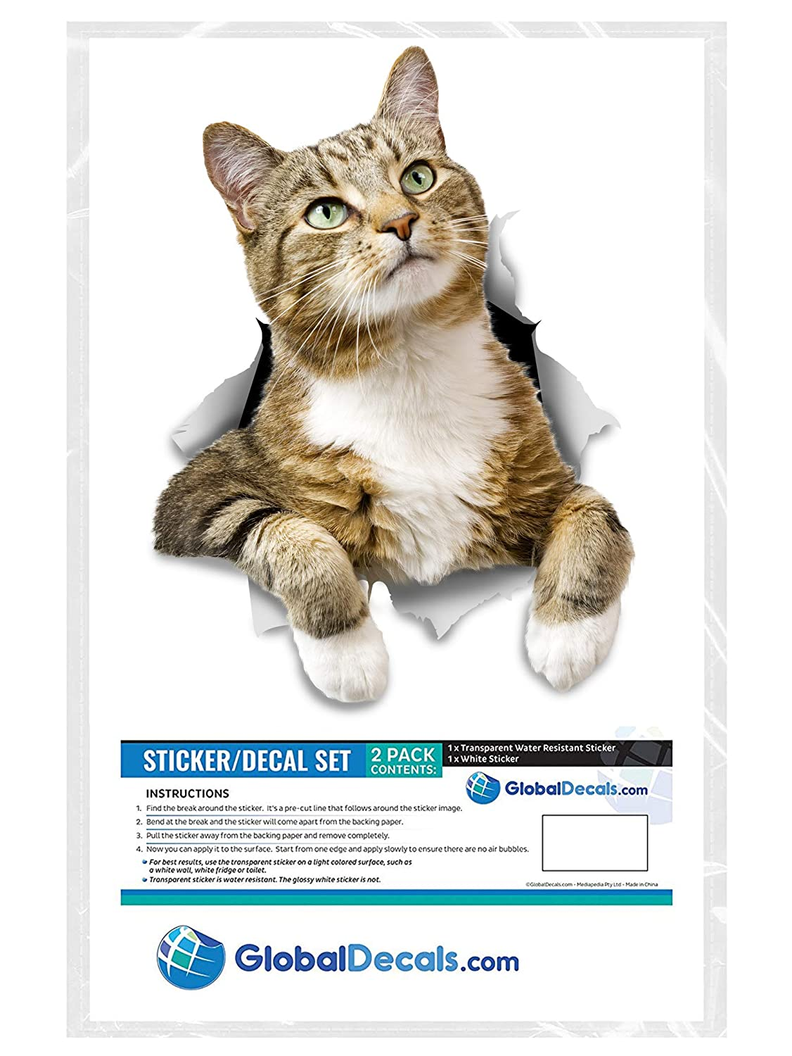 Amazon.com: Winston & Bear 3D Cat Stickers - 2 Pack - Pondering Tabby Stickers for Wall, Fridge, Toilet and More - Retail Packaged Tabby Cat Stickers: Home ...