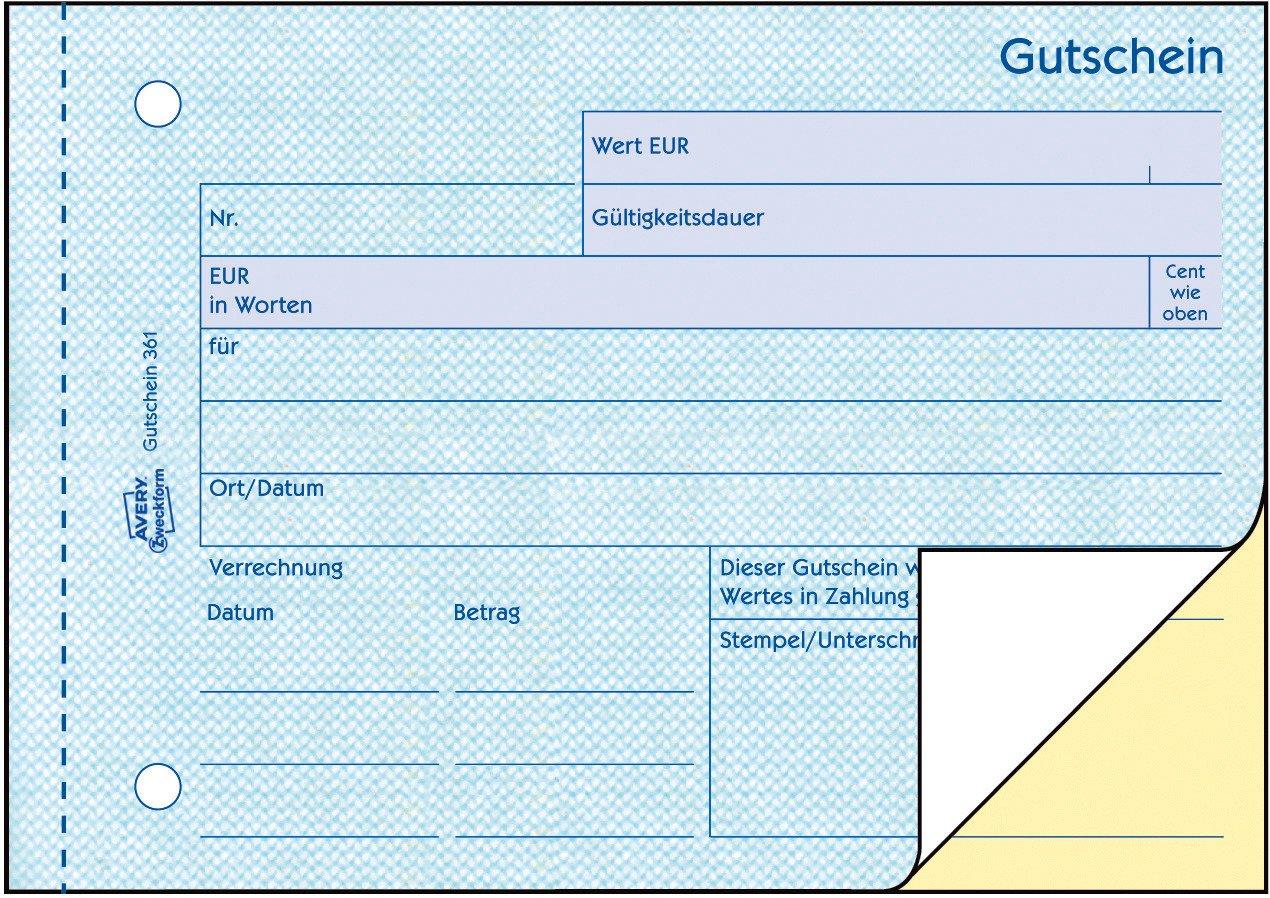 AVERY Zweckform 361 Gutschein wei/ß//gelb A6 quer, mit 1 Blaupapier, 2x50 Blatt