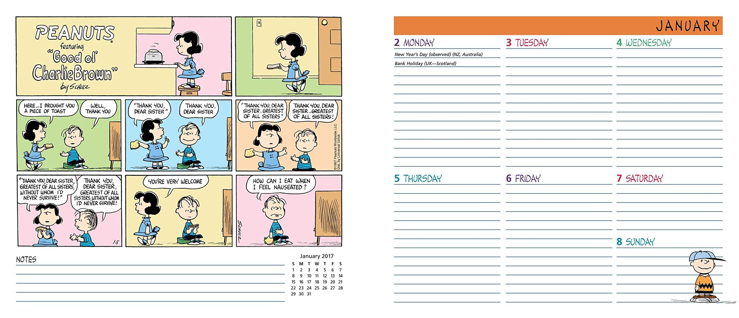 peanuts 2017 weekly planner calendar peanuts worldwide llc
