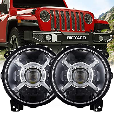 "9"" Inch Round LED Headlights for 2020 2020 Jeep Wrangler JL Gladiator SUV Headlamps Replacement with Daytime Running Lights High Low Beam Adjustable: Automotive"