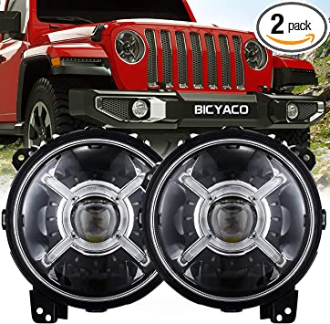 KIWI MASTER 9 Inch Round LED Headlights Halo DRL for 2018 2019 Jeep Wrangler JL 2020 Jeep Gladiator JT Accessories High Low Beam Headlight with Daytime Running Lights New Version Adjustable Screw