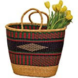 Market Basket African Hand Woven Colorful Grass w Handles Shopping Tote