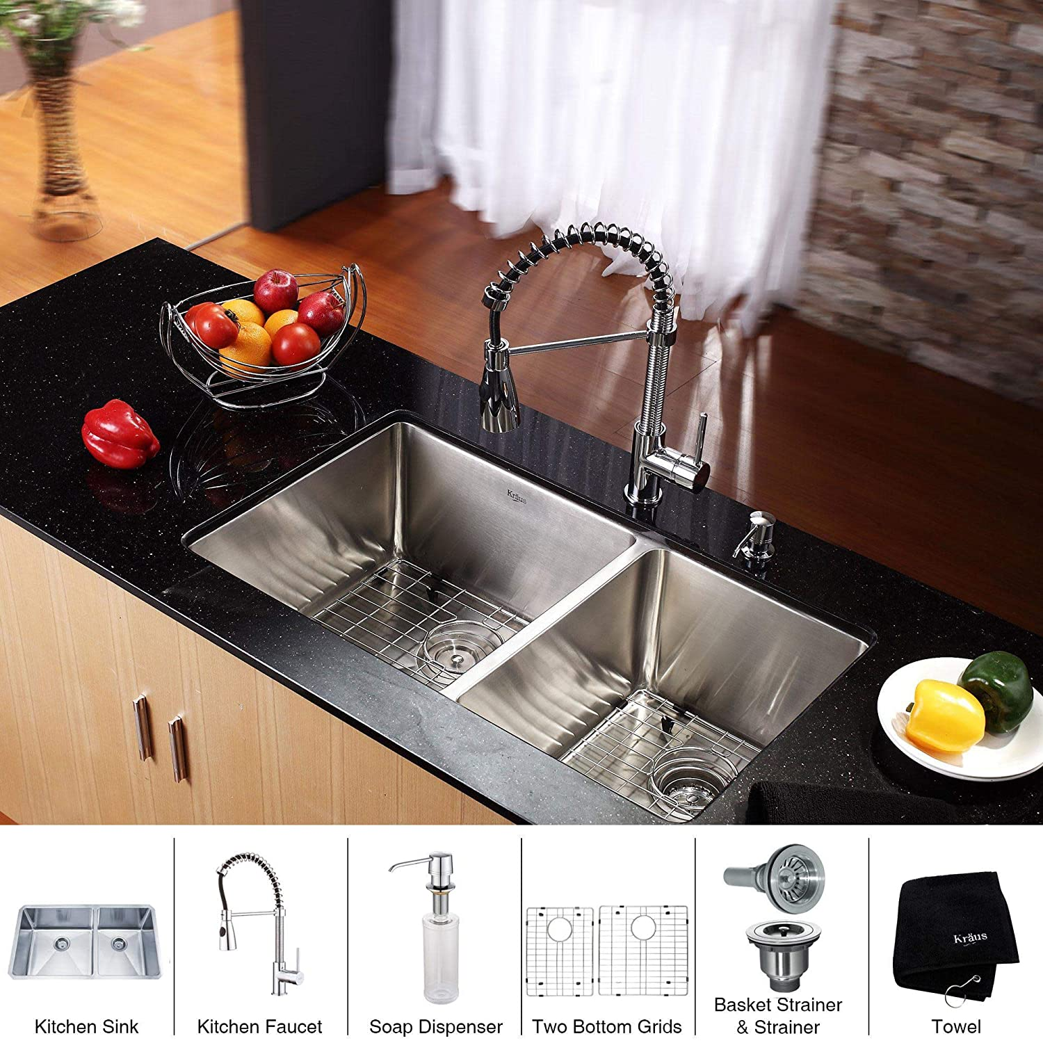 Kraus KHU103-33-KPF1612-KSD30CH 33 inch Undermount Double Bowl Stainless Steel Kitchen Sink with Chrome Kitchen Faucet and Soap Dispenser