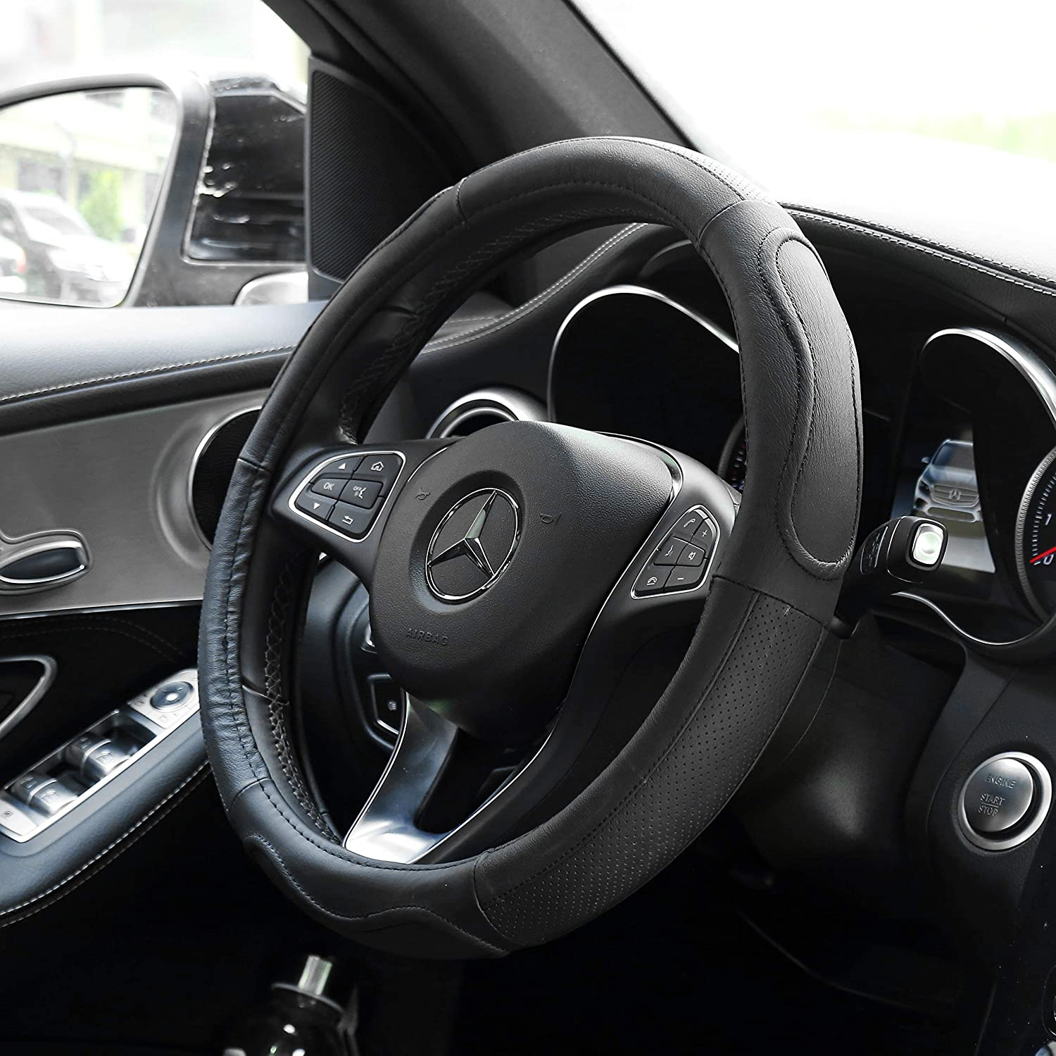 5559033975 SNJUE Black Microfiber Leather Auto Car Steering Wheel Cover Universal 15 inch for Car Truck SUV Black