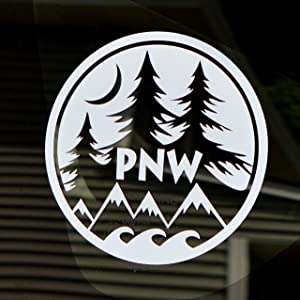 "Byzee PNW Decal Round Vinyl Window Laptop Water Proof Water Bottle Sticker Graphic 4"" White Mountain Ocean Pine Tree Moon"