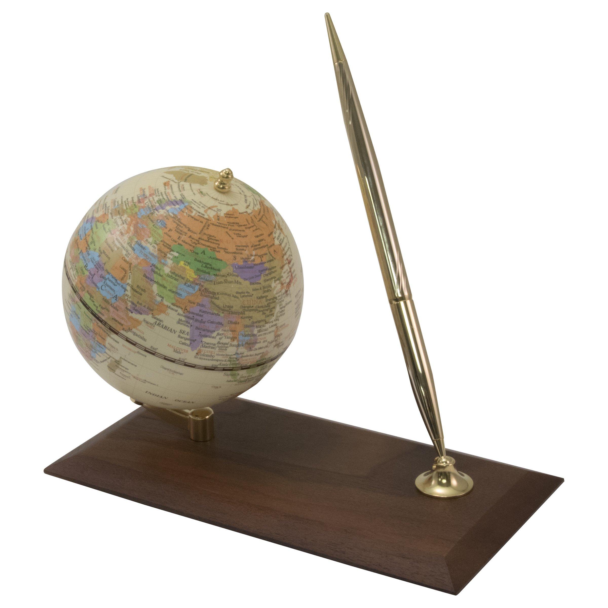 Advantus Desktop Globe with Pen Holder/Stand, Wood Base (30506) by Advantus