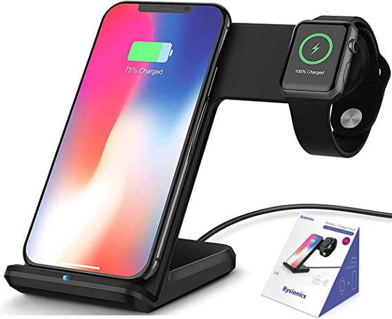 Bysionics Wireless Charger,2 in 1 Fast Qi Phone Wireless Charging Stand & Wireless Charging Dock Compatible for Apple iWatch Series 4321 (Black)