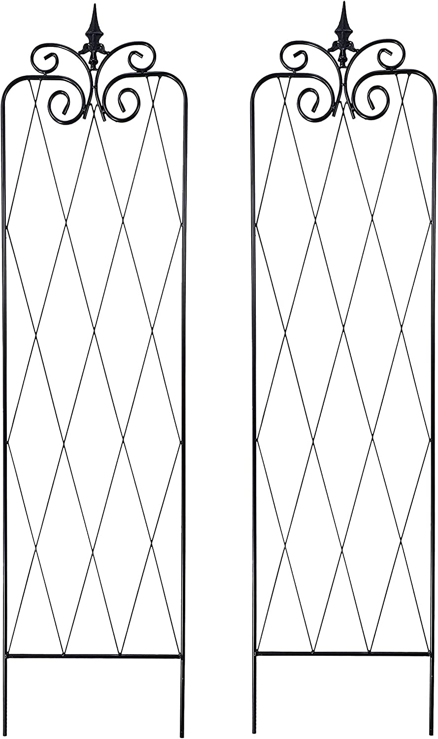 OUTOUR Metal Garden 59 Lx15W Inches Trellis 2 Pack Wire Lattice Grid Panels for Rose Vines, Climbing Plants, Flower, Vegetables, Clematis Support, Outdoor Patio Lawn Yard Decoration
