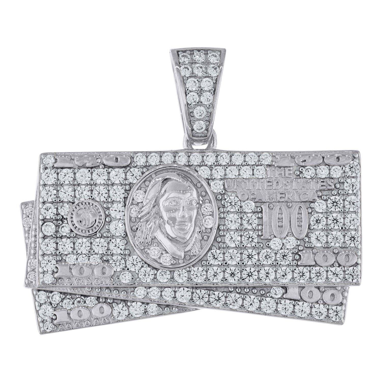 Jawa Jewelers Sterling Silver Cubic Zirconia CZ 100 Dollar Bill Cash Mens Pendant