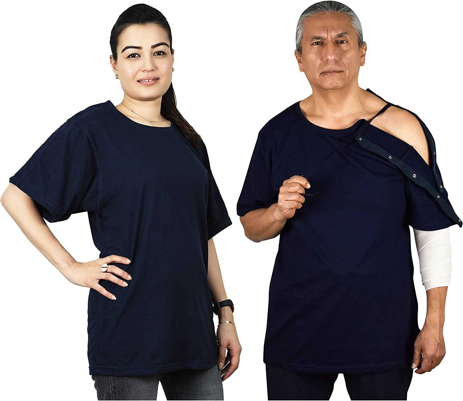 Post Surgery Shirt with Left Shoulder & Side Access via Hidden Easy Open Snaps