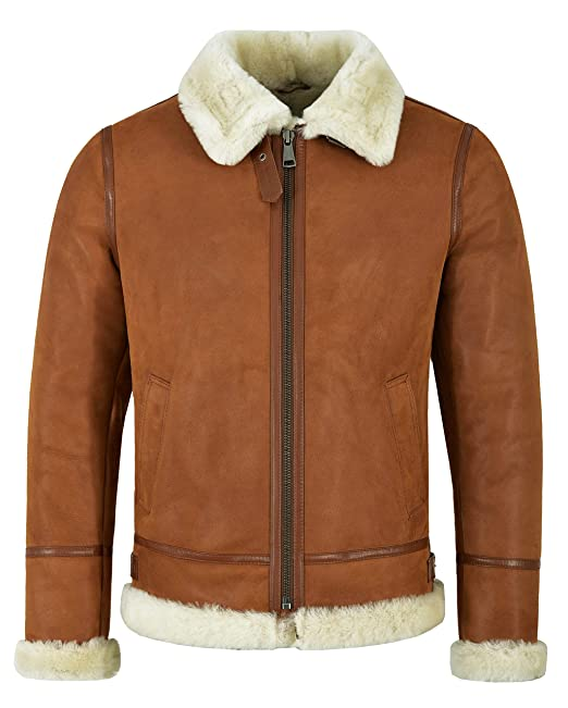 huge selection of 50abf e17c4 Da In Giacca Pelle B3 Montone Shearling Tan Beige Uomo ...