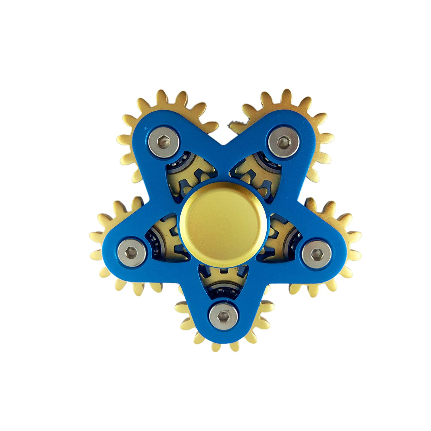 VODA 6 Gear Metal Fidget Spinner Luxury 6 Gear Linkage Spinner Toy High Speed EDC Fidget Toy for Stress Relief Blue