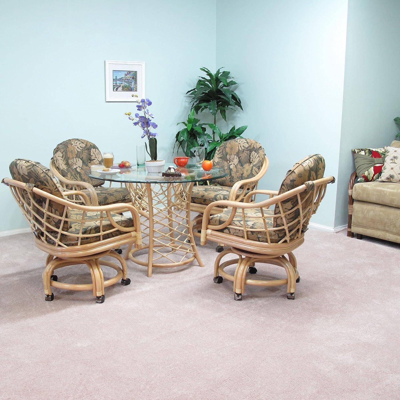 Fabricado en Estados Unidos de ratán mesa de comedor silla de ruedas juegos muebles Newton 5pc Set: Amazon.es: Hogar