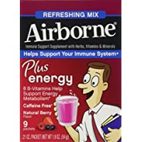 Airborne Plus Energy Immune Support Supplement Berry , 9 CT (Pack of 6)