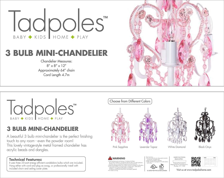 Amazon tadpoles three bulb chandelier pink sapphire baby arubaitofo Image collections