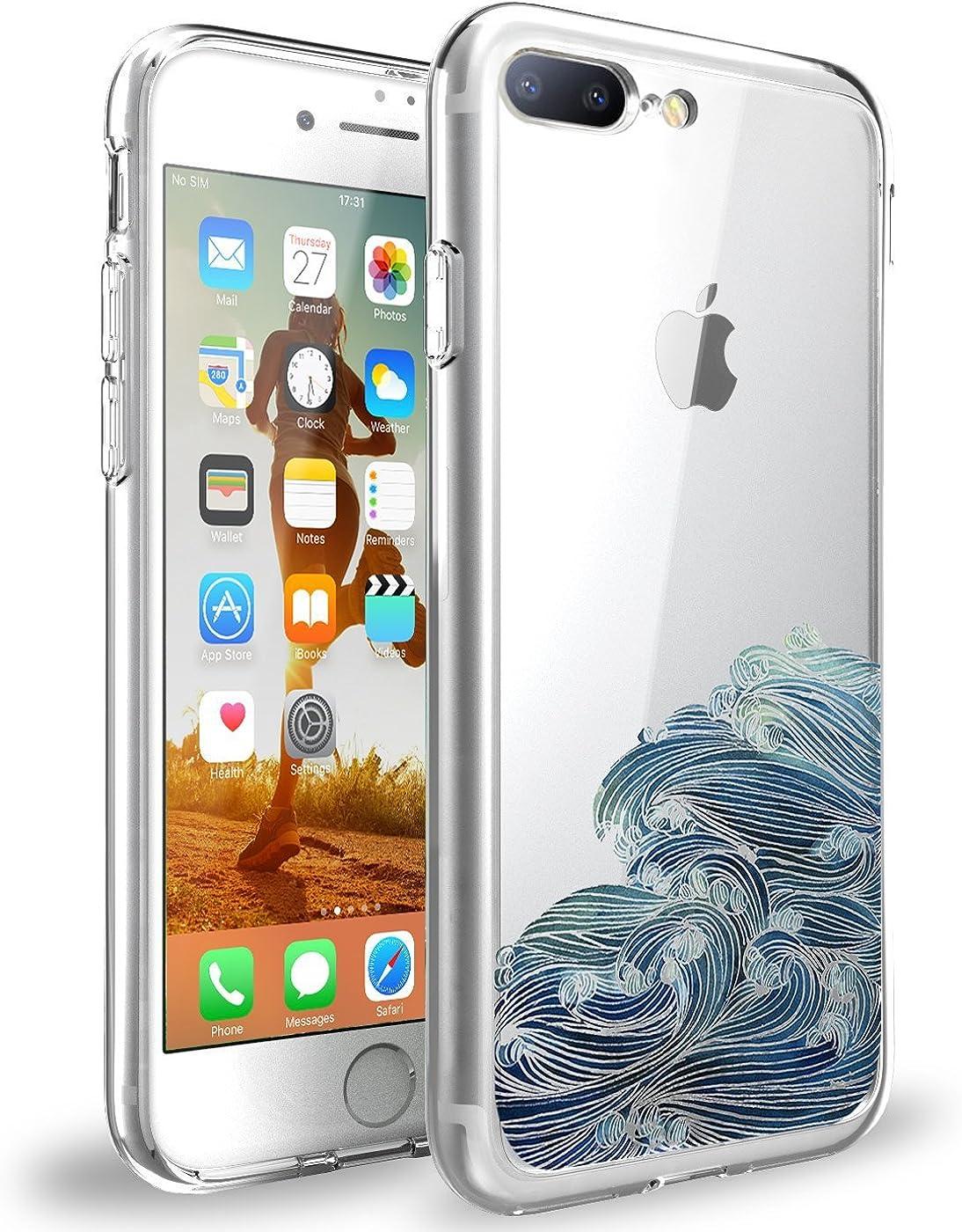 Teryei Funda iPhone 7 Plus/8 Plus TPU Silicona Carcasa [Ultra Slim] Full Protección Anti-Scratch Transparente Suave Caso Cover Anti-Golpes Rasguño Bumper para iPhone 7 Plus/8 Plus