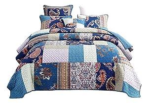 Tache Vintage Paisley Night Flower Floral Blue Colorful Bohemian Cotton Patchwork Quilt Bedspread Set King