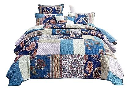Tache Paisley Night Flower Floral Blue Colorful Bohemian Cotton Patchwork Quilt Bedspread Set Cal King